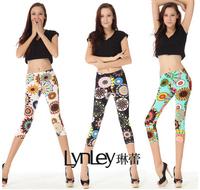 Women Leggings Short  With Lace Rim Skinny Shorts Women  Fashion Flower Print Pants 2014 New
