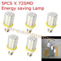 5 PCS  x  7W Medium base E27 White 72SMD LED Corn Light Bulb Lamp 110V