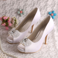 (15 Colors)Top Quality Shoes Platform Women Crystal Diamond Wedding Shoes White Free Shipping