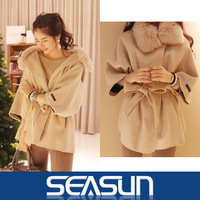 2013 New women winter coats fur with cap female woolen cloak outerwear fur collar medium-long blended wool coat women's fur coat