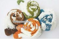 2014 fashion brand women asymmetric super cute soft warm strip scarf w ball  plus sixe christmas gift whole sale free