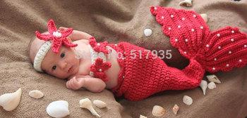 free shipping,Baby  Headband+strapless+Tail Costume 3pcs Crochet Photo Prop Mermaid set