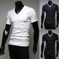 Hot New Brand Men T-Shirts, Stylish  Shirt, Fashion Man V-neck Short Sleeves Wear,3 Colors,Wholesales,Free Shipping,XT005
