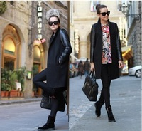 European and American fashion black leather sleeve splicing women wool coat