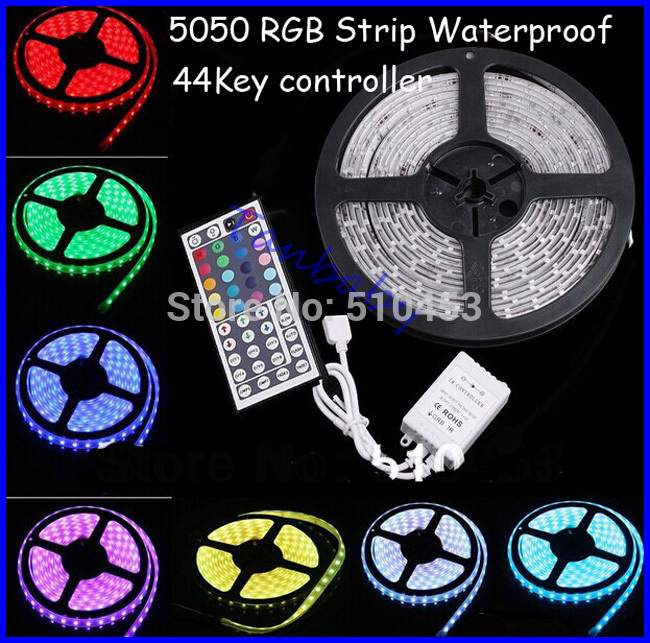 Ip65 waterproof led strip light 5050 smd 300led 5M RGB led rope +44key IR remote controller free shipping(China (Mainland))