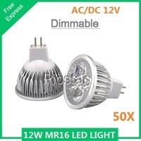 (50pcs/lot) Dimmable 12W (4x3W) LED lamp light 12V MR16 12W  LED Spotlight Bulb led downlight Cool White/ Warm White