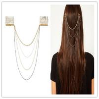 Sheegior 2014 New Fashion High quality four chains tassel hair combs hair jewelry Free shipping !