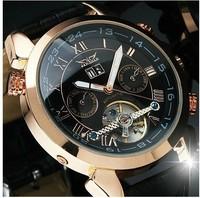 New fashion brand Jaragar Men Gent Black Tourbillon Date Vintage Mechanical Watch Free Ship