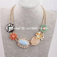 Fashion Women Jewelry Double Gold Chain Flower Bubble Bib Rhinestone Statement Necklace