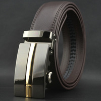 New men's business auto lock brown belt genuine soft cowskin leather waist belt#pk43-T1
