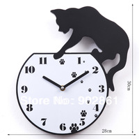 [funlife]- Free Shipping 30*28cm(11.81*11.02in) Fashion Creative Clock Cat Catch Fish in the Aquarium Slient Wall Clock for Kids