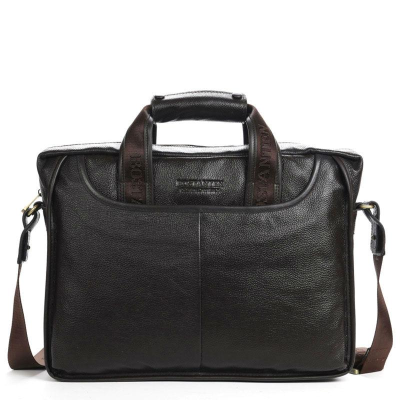 "100% GENUINE LEATHER cowhide Shoulder leisure men's bag business messenger portable briefcase Laptop large Purse 14"" Handbag(China (Mainland))"