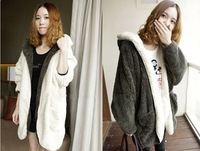 women autumn winter coat 2013  Korean females out wear thickening warm woolen hooded jacket bat sleeve retail for ladies ourwear