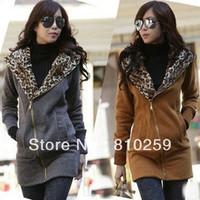 A293 2013 women new fashion clothing gray black yellow leopard long-sleeve hooded hoodies sweatshirts autumn cardigan coats