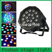 Free shipping, 12Pcs/Lot 18*3W RGB LED Lamp DMX Disco DJ par Light,stage dj disco colouful effecte flat par cans/led par64 light