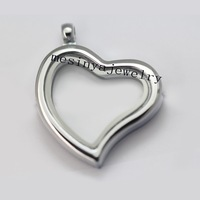 10pcs best quality curved heart plain glass locket for floating charms