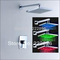 LED Light Square Bathroom Shower Faucet Controlled Bath Mixer Wall Water Tap Shower Hotels Shower Set torneira banheiro chuveiro
