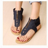 Free Shipping 2013 Wholesale Brand New zipper Women Denim Slipper Classics Casual Sandles