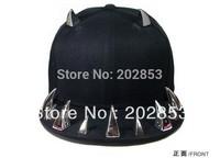 Free Shipping 2013 Hot Sale Hip Hop Dance Punk Rivet Cap Hiphop Jazz Punk Style Flat Hat Much Horn Flat hat Hip-hop Baseball Cap