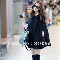 A275 free shipping 2013 women new fashion o neck batwing cloak wool cashmere coats ladies autumn winter poncho coats outerwear