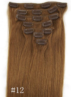 18inch/20inch/22inch/24inch Synthetic hair extension Clips in (7pcs) #12 colour 100gram