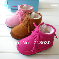 Hot Genuine Leather baby shoes perwalker first walkers kids Winter Warm Cotton-padded shoes girls' snow boots free shipping 1903