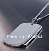 Min Order is $10 for Free Shipping New Items Men Jewelry  Free Shipping High Quality 925 Sterling Silver Dogtag Pendant Necklace