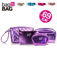 Free shipping 2014 new designer 4 piece cosmetic bag day clutch coin bag beauty bag women organizer bag handbag items CB10