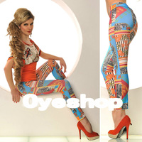 Girls Graffiti Orange /Blue Print  Seamless Tattoo  Leggings Skinny Slim Pants    Size Fits Most Women/Girls