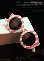 Fashion star style 2013 women's stripe sunglasses personality sunglasses circle male glasses