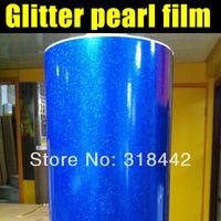 Glossy blue  glitter diamond vinyl car sticker with air free bubble,Size:1.52m*20m/roll