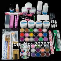 Free Shipping Pro UV Gel Set 18 Acrylic Powders 12 Glitter Powder 15 Nail Art Brush 5 Sable Acrylic Brush +Nail Art Tools Kit