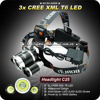 1PC 3x CREE XM-L XML T6 LED 3000L Stirnlampe Kopflampe 3T6 Headlamp