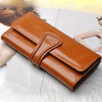 2014 Fashion Classic Women's wallet wax cowhide hasp genuine leather large capacity lady purse