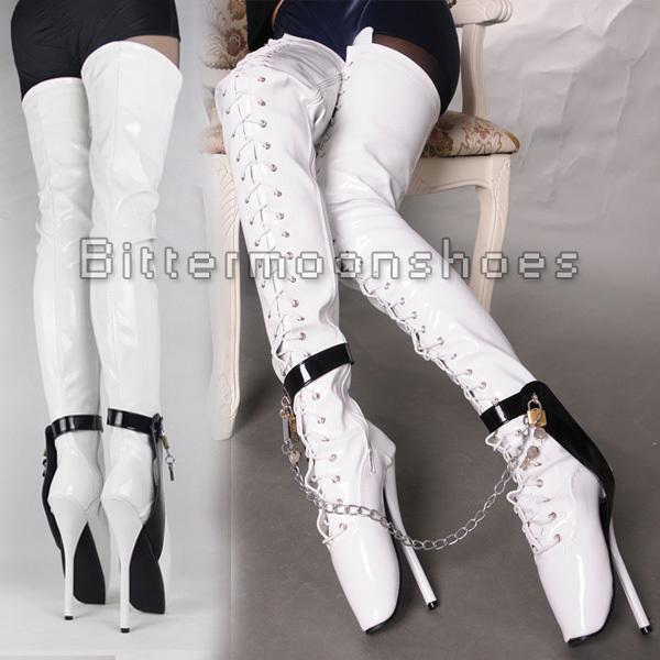 ~ ~ em estoque ~ ~ 7 polegada de salto alto saltos overknee balé preto coxa alta fetiche botas altas de botas virilha calcanhar shinppng grátis(China (Mainland))