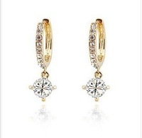 CE35 Diamond platinum plated 18K Austrian rhinestone Circle Earrings   Y191-2-6.8