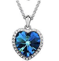 Fashion Austria Crystal  Zircon heart Titanic ocean Heart  sweater chain Necklace wholesale