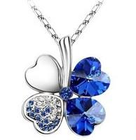 Fashion Austria Crystal   Sweet style half rhinestone crystal clover  Pendant Necklace