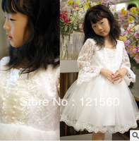Free shipping High quailty Lace  flower girl dresses for weddings 3-10 age