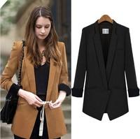 2014 New Fashion Women Blazer Spring Autumn Slim Waist ZA High Street Suit Jacket For Women Plus Size Black/Khaki