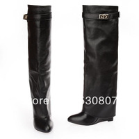 G boots knee-length wedges high-leg pointed toe straight genuine leather boots