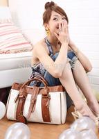 Vintage Handbags White Women Messenger Bag 2013 Brand New Rivet Tassel Leather Women's Bags Sales and Free Shipping WB3001