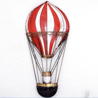 Modern Home Decoration Metal Wall Art Hand Made Red Hot Air Balloon 28*62cm Free Shipping