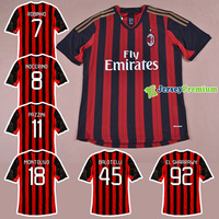 AC MILAN HOME RED BLACK 2013/14 Top Thailand Quality Soccer jersey football kits Embroidery Logo Uniform 100% Polyester