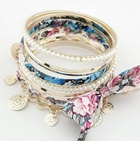 order at least $10(mixed order) C088 fashion bowknot peal multilayer bracelet free shipping!