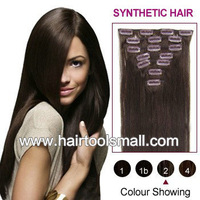 22inch 1set clip in synthetic hair extension straight heat resistance fibre 7pcs/set  100grams
