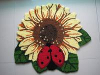 "Free shipping Fashion decoration - handmade flower embroidery  art /floor mat/art rug for  bedroom  "" sun flower"" 77*65cm"