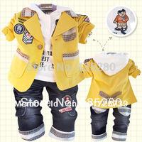 Retail 2014 New Fashion children's Clothing Sets cotton coat+T-shirt+pants baby kids 3 Pcs clothing set baby boys tracksuits
