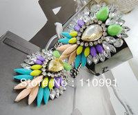 2013 New Design Resin Blue Multicolor Rhinestone Choker Bib Pendent Neon Flower Statement Necklaces Sets
