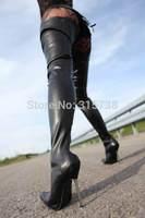 Dropshipping,black matte color thigh high sexy women' s 12cm steel high-heels,woman autumn boots